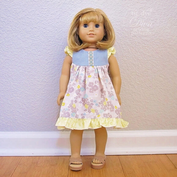 Doll Dress Pattern – Butterfly Flutter Sleeved Dress – 18 inch Doll