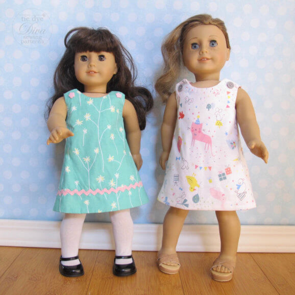 Fits American Girls doll dress pattern – Reversible Perfect A Line Dress Sewing Pattern for 18″ Doll